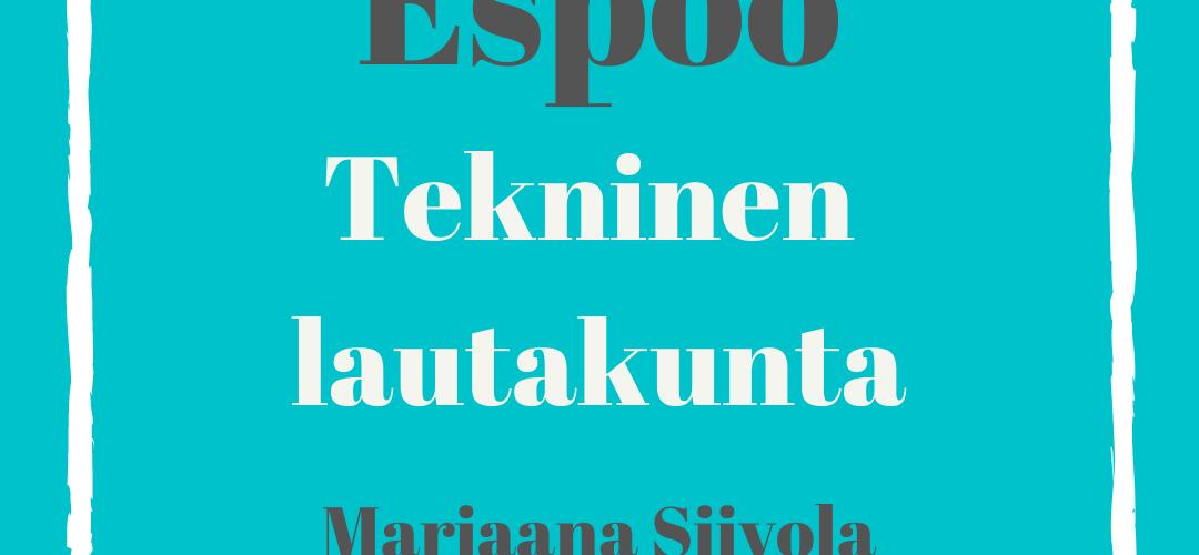 Espoo tekninen lautakunta Marjaana Siivola